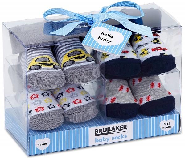 """4 Paar Babysocken """"Autos"""" in Geschenkverpackung, 0-12 Monate"""
