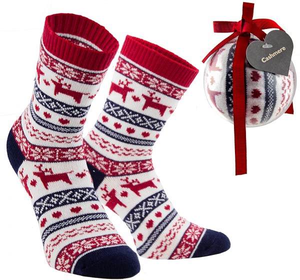 1 Paar Norweger Socken in Weihnachtskugel - Weihnachtssocken - One Size Gr. 36-41