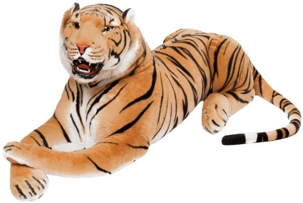 BRUBAKER riesiger Tiger braun mit Zähnen 130 cm Stofftiger Stofftier Plüschtier