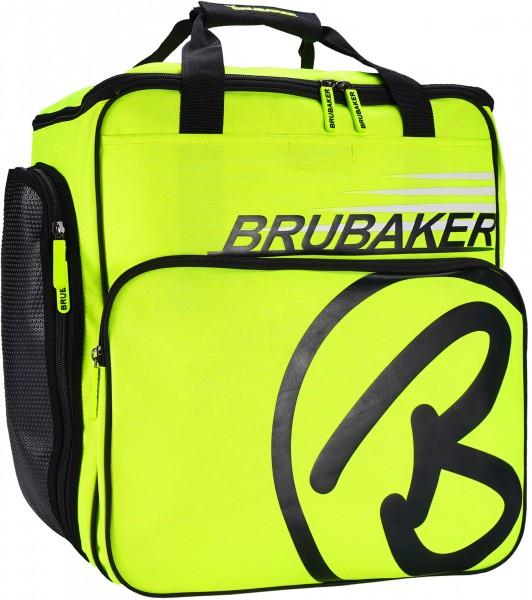 BRUBAKER Super Champion Skischuhtasche Helmtasche Rucksack mit Schuhfach - Neon Gelb / Schwarz