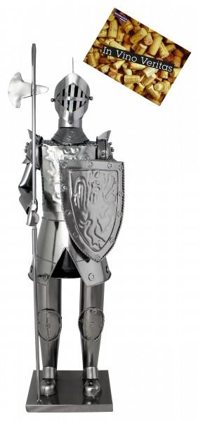 BRUBAKER XXL Flaschenhalter Ritter mit Lanze und Schild 63 cm - Flaschenständer für Wein aus Metal