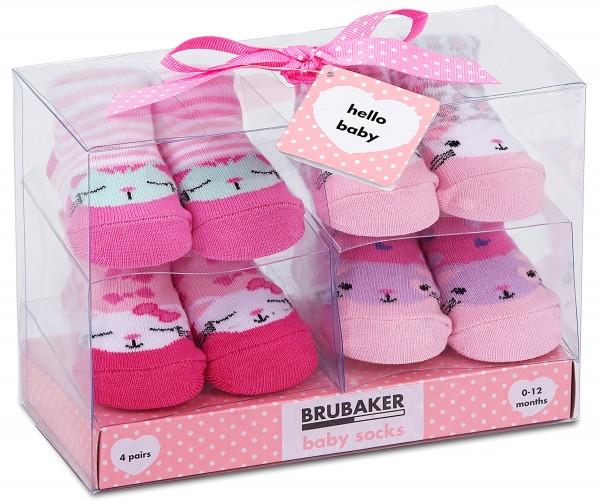 """4 Paar Babysocken """"Katzen Design"""" in Geschenkverpackung, 0-12 Monate"""
