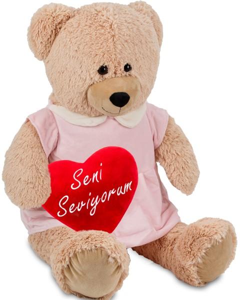 Bärenmädchen mit rosa Kleid - 100 cm - Beige - mit einem 'Seni Seviyorum' Plüschherz - Stofftier