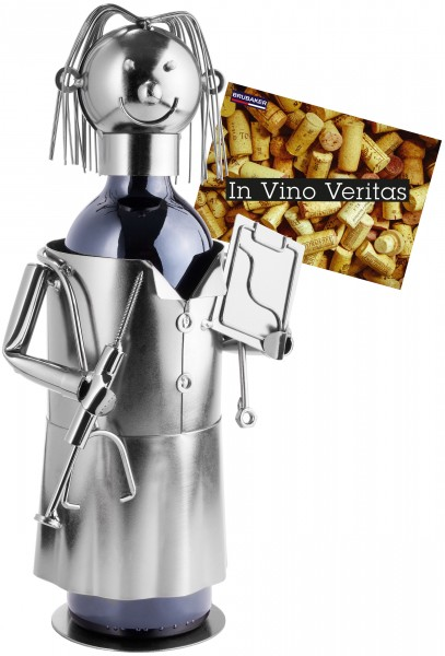 Weinflaschenhalter Ärztin - Weingeschenk Flaschenständer - Metallfigur mit Grußkarte