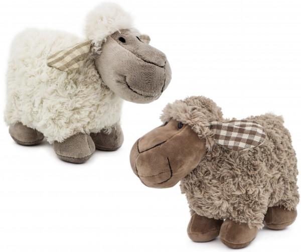 2er Set BRUBAKER Plüsch Schafe Höhe ca. 21 cm braun weiß