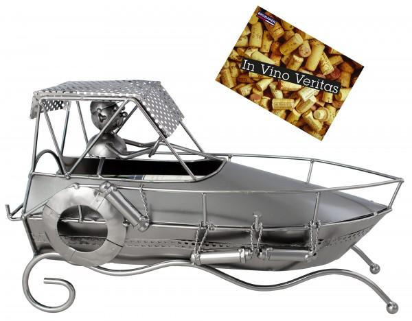BRUBAKER Flaschenhalter Rennboot Motorboot - Flaschenständer für Wein aus Metal mit mit Grußkarte