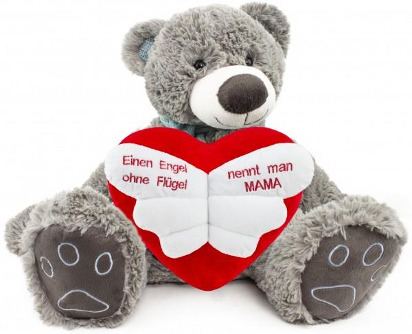BRUBAKER Kuschelbär Teddybär 50 cm groß Grau mit 'Einen Engel ohne Flügel nennt man Mama' Herz