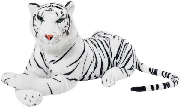 BRUBAKER Tiger weiß 75 cm liegend Stofftier Plüschtier
