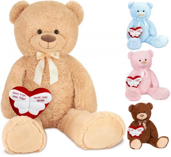 """Teddybär mit Schleife 100 cm mit einem """"Einen Engel ohne Flügel nennt man Mama"""" Herz - Kuscheltier"""