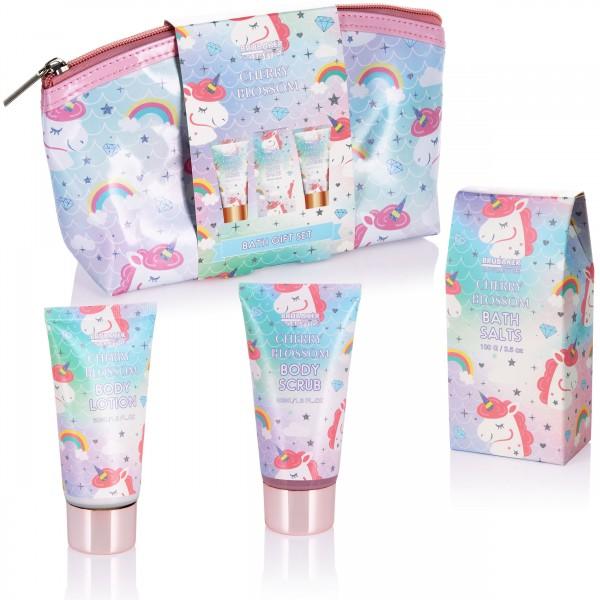 4-tlg. Einhorn Bade- und Dusch Set Cherry Blossom - mit Kirschblüten Duft in Kosmetiktasche