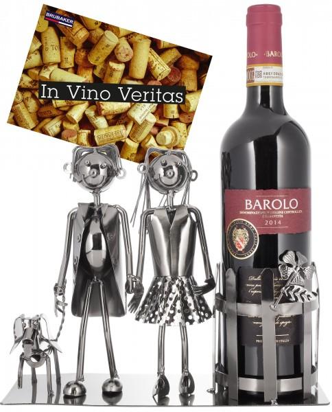 Weinflaschenhalter 'Paar mit Hund' - Deko-Objekt Metall - Flaschenständer - mit Grußkarte