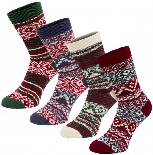 4 Paar Norweger Socken - Weihnachtssocken - Grün, Rot, Blau, Weiß