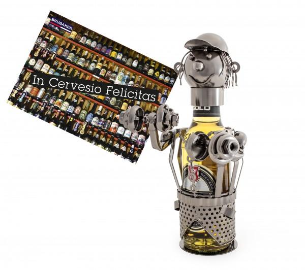 BRUBAKER Bier Flaschenhalter Bodybuilder Metall Skulptur mit Geschenkkarte