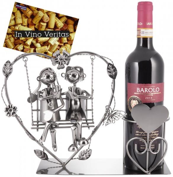 Weinflaschenhalter 'Liebespaar auf der Herzschaukel' - Metall Flaschenständer - mit Grußkarte