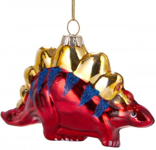Dinosaurier Rot - Handbemalte Weihnachtskugel aus Glas - Mundgeblasener Christbaumschmuck - 12 cm