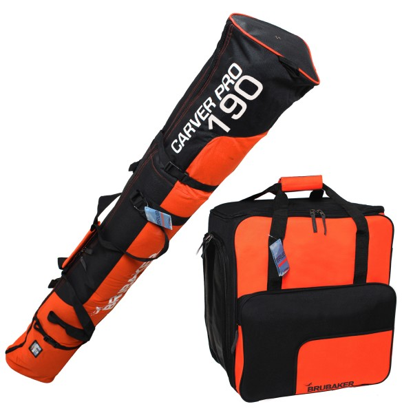 BRUBAKER Kombi Set Skisack und Skischuhtasche für 1 Paar Ski bis 190 cm + Stöcke + Schuhe + Helm Ora