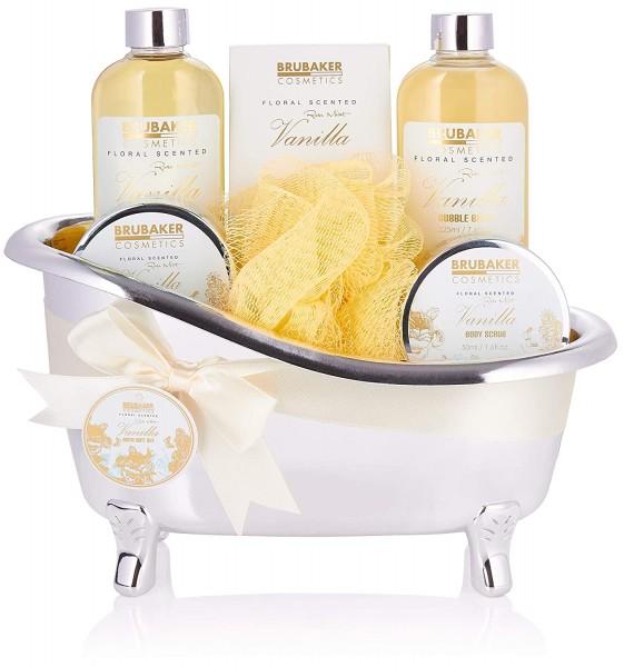 BRUBAKER Cosmetics Bade- und Dusch Set Vanille - 7-teiliges Geschenkset in dekorativer Wanne