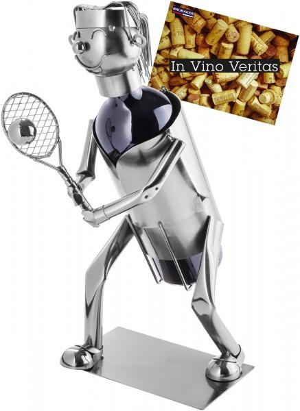 Weinflaschenhalter Tennisspielerin - Weingeschenk Flaschenständer - Metallfigur mit Grußkarte