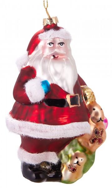 Weihnachtsmann mit Geschenk - Handbemalte Weihnachtskugel aus Glas – Mundgeblasene Baumkugel - 12 cm
