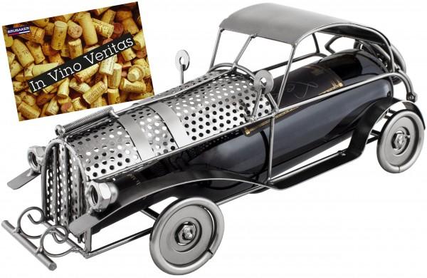 BRUBAKER Flaschenhalter Vintage Auto Oldtimer Flaschenständer Deko-Objekt Metall mit Grußkarte für G