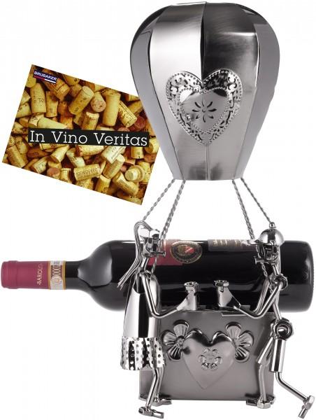 XXL-Weinflaschenhalter 'Heißluftballon mit Liebespaar' Metall - Flaschenständer - mit Grußkarte