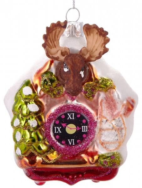 Kuckucksuhr Elch - Handbemalte Weihnachtskugel aus Glas - Mundgeblasener Christbaumschmuck - 10 cm