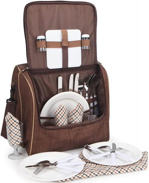 Picknicktasche für 4 Personen Schultertasche mit Kühlfach Braun 35,5 × 24,5 × 33 cm
