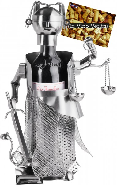 Weinflaschenhalter Justitia Silber - Weingeschenk Flaschenständer - Metallfigur mit Grußkarte