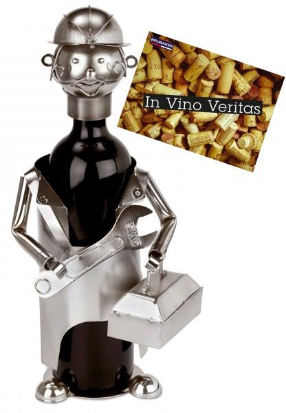 BRUBAKER Flaschenhalter Mechaniker Monteur Installateur - Flaschenständer für Wein aus Metall mit Gr
