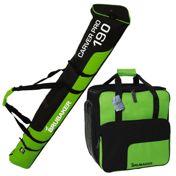 BRUBAKER Kombi Set Skisack und Skischuhtasche für 1 Paar Ski bis 190 cm + Stöcke + Schuhe + Helm Grü