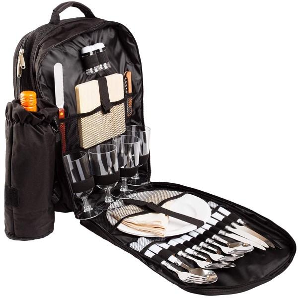 BRUBAKER Picknickrucksack Picknicktasche mit Inhalt für 4 Personen mit integrierter Kühltasche
