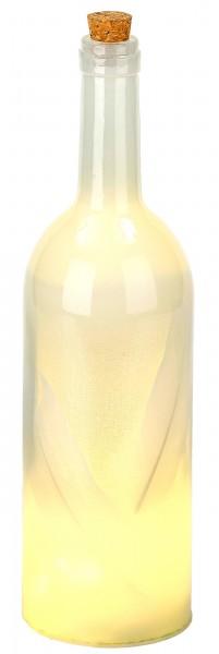 Lichterflasche mit Federn - 10 LEDs - Dekoflaschen - Flaschenlicht - 32 cm Höhe