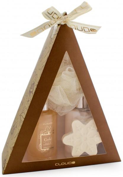 4-teiliges BRUBAKER Cosmetics Bade-Geschenkset 'Pyramide' gold