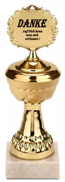 Pokal Danke - Auf dich kann man sich verlassen! Goldene Trophäe mit Marmorsockel - Geschenkidee