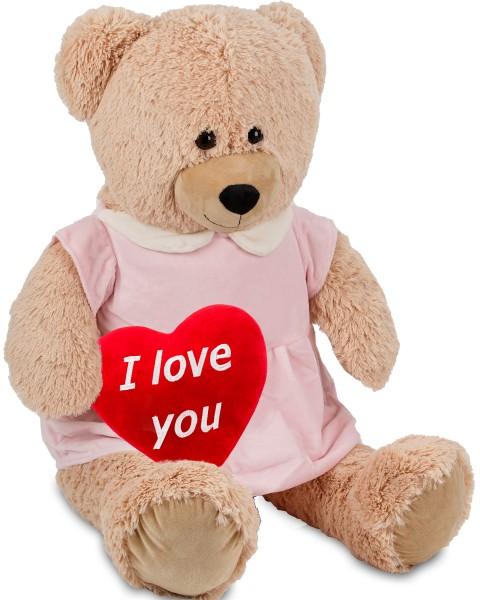 Bärenmädchen mit rosa Kleid - 100 cm - Beige - mit einem 'I Love You' Plüschherz - Stofftier