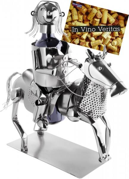 Weinflaschenhalter Reiterin mit Pferd - Weingeschenk Flaschenständer - Metallfigur mit Grußkarte