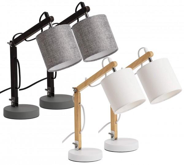 Schreibtischlampe, Leselampe aus Holz - verstellbar - bis zu 52 cm hoch