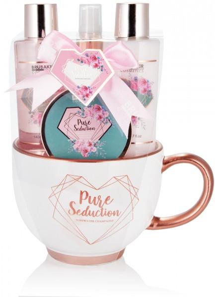 5-teiliges Beauty Geschenkset in moderner Kaffeetasse - Rosewater Champagne - Roségold