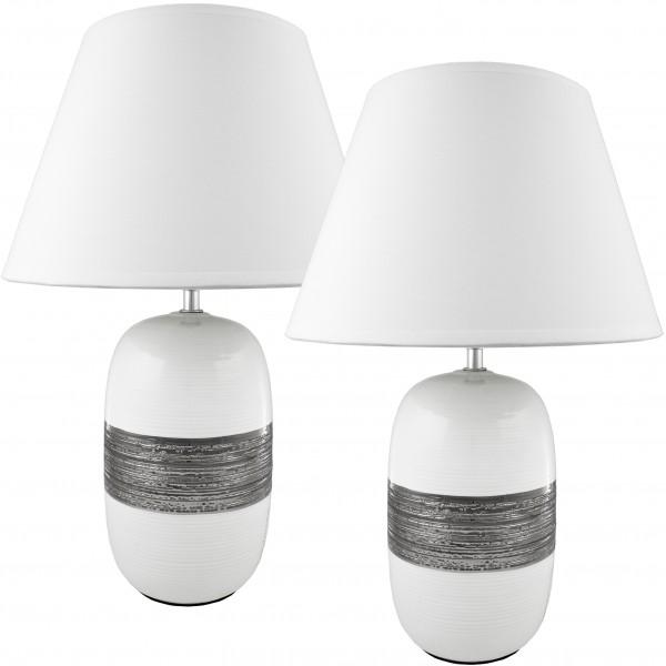 BRUBAKER Doppelpack Tisch- oder Nachttischlampe Keramikfuß Weiß Silber Weiß Hochglanz - Schirm weiß