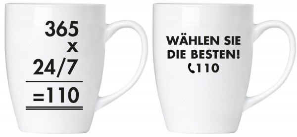 """BRUBAKER """"Wählen Sie die Besten! 110 Polizei"""" Tassen Set aus Keramik - Grußkarte und Geschenkpackung"""