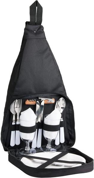 Picknickrucksack für 2 Personen Schwarz 28 × 45 × 15 cm - mit Kühlfach