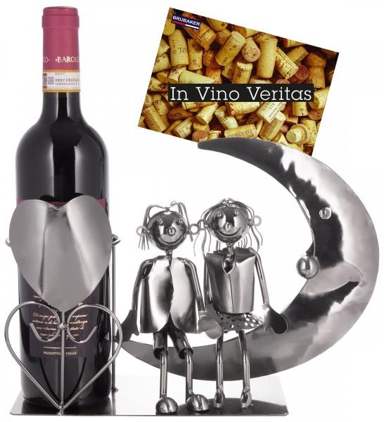 Weinflaschenhalter 'Liebespaar auf dem Mond' - Metall Skulptur - Flaschenständer - mit Grußkarte