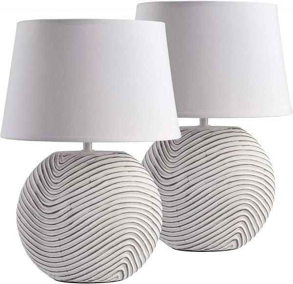 Nachttischlampe Zen Garden Weiß - Keramikfuß in zweifarbigem, mattem Finish - 38 cm Höhe, Weiß Grau