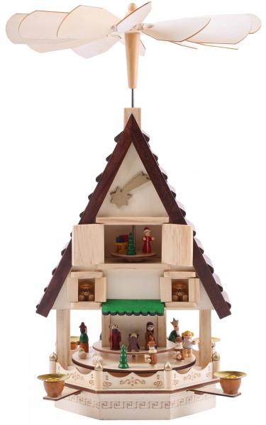 Weihnachtspyramide aus Holz - 49 cm - Weihnachtskrippe auf 4 Etagen - handbemalte Figuren