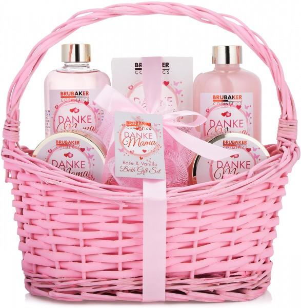 7 tlg. Bade- und Dusch Set - Beautyset - Danke Mama Geschenkset im Korb - Rosen Vanille Duft