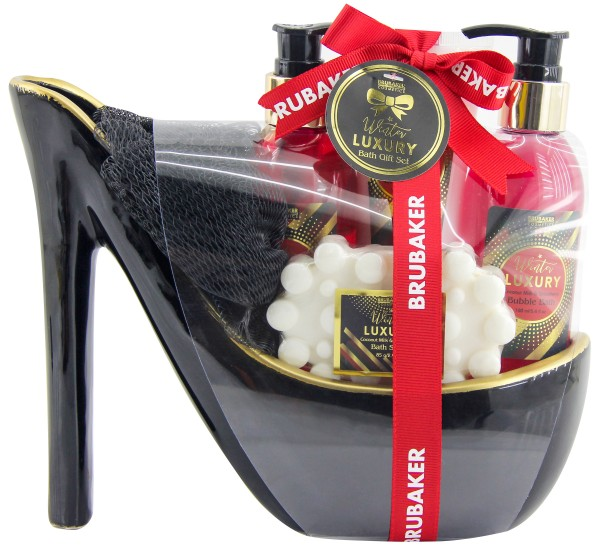 6 tlg. Erdbeer Kokosmilch Beautyset Geschenkset in Keramik Stiletto - Schwarz Gold