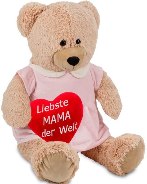 Bärenmädchen mit rosa Kleid - 100 cm - Beige - mit einem 'Liebste Mama der Welt' Plüschherz