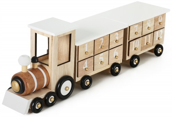 BRUBAKER Wiederverwendbarer Adventskalender aus Holz zum Befüllen - Eisenbahn - Weiß